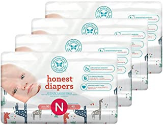 Honest Baby Diapers, Multi Colored Giraffes, Size 0 Newborn (160 Count)