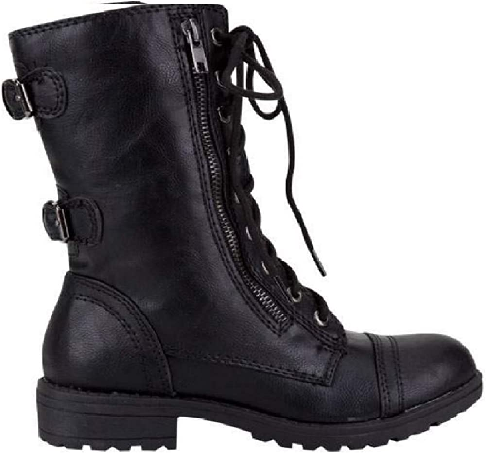 Lucky Top Soda Pack72 Dome Girls Faux Leather Combat Boots