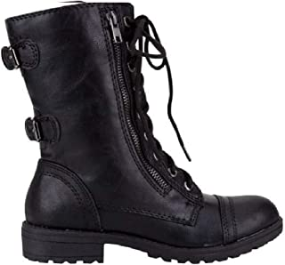 Soda Pack72 Dome Girls Faux Leather Combat Boots