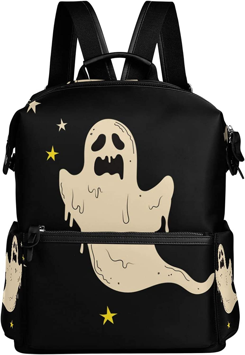 MONTOJ Spooky Halloween Ghost Leather Travel Bag Campus Backpack
