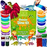Dinosaur Slime Kit for Boys - STEM Learning, Stretchiest Slime Kit, Easy-to-Clean Fun Slime for Kids, 12 Colors & Dinosaur Toys - All in ONE for Ultimate, Premade, DIY, Foamy, Stretchy Slime 38pc