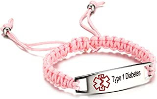 Pre-Engraving Type 1 Diabetes Medical Alert ID Bracelet for Kids Nylon Braided Bracelet, 6-8 inches
