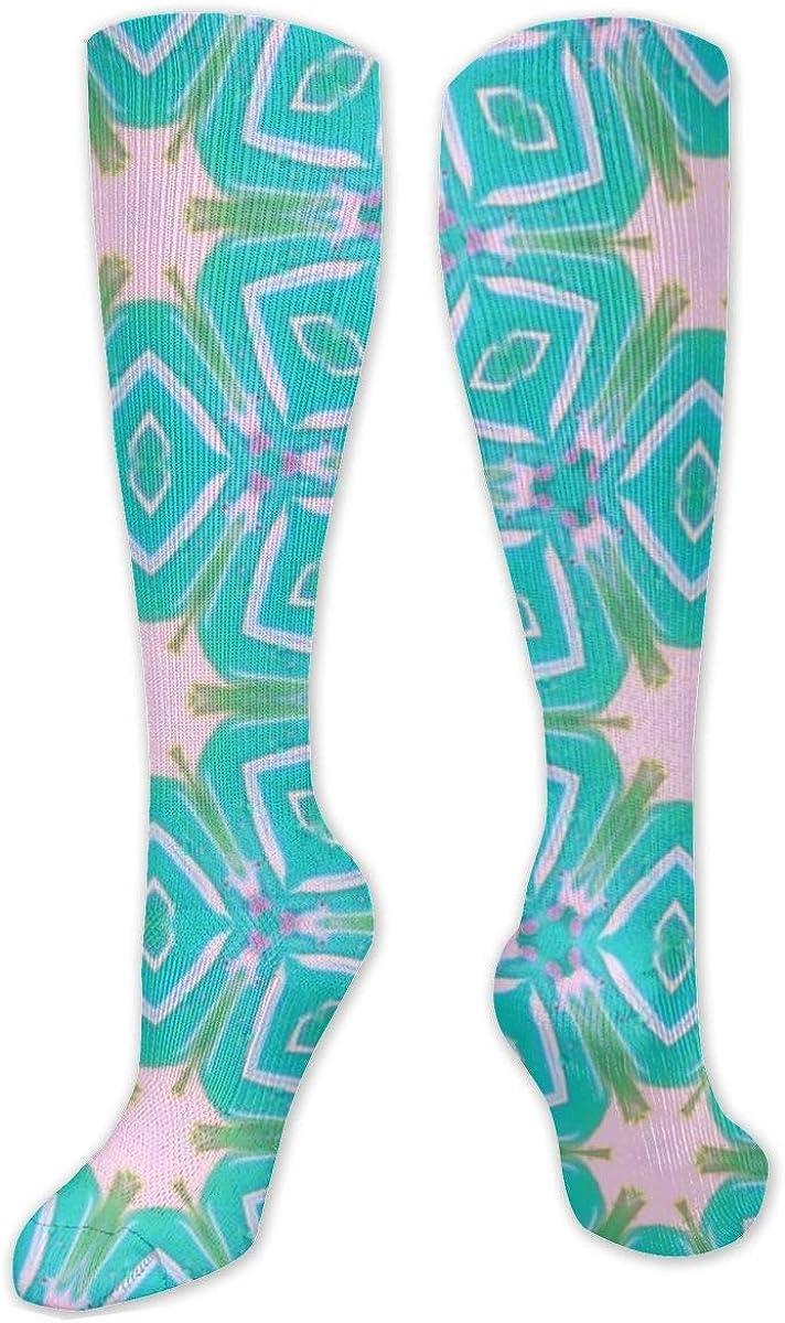 Retro Green Square Knee High Socks Leg Warmer Dresses Long Boot Stockings For Womens Cosplay Daily Wear