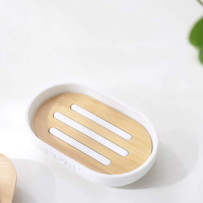 Bianco ECC YDong Set da Bagno nel bamb/ù da 6 Pezzi Set di Accessori da Bagno Set di Accessori per La Toilette Ecologico con Distributore di Lozione