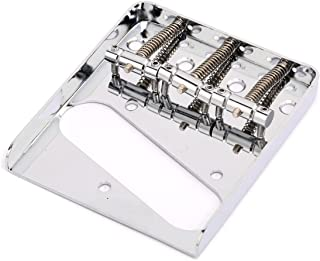 Musiclily Edged Telecaster Bridge Assembly with 3 Saddles for Fender American/Mexican Vintage Telecaster Style, Chrome