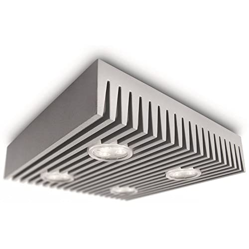 Philips 31602/87/48 Ledino Square Four Energy Efficient LED Ceiling Light, Grey