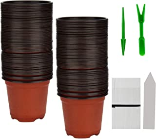 "BTSD-home 100 Pcs 4"" Plastic Plants Pots Nursery Pots 100 Pcs Planting Tags Label 2Pcs Mini Garden Tools Flower Seedlings ..."