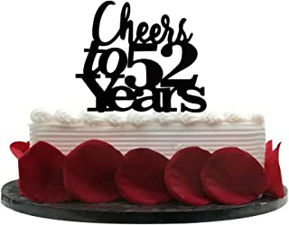 Cheers to 52 Years Cake Topper - 52nd Birthday, Wedding Anniversary, Retirement Party Bunting Sign Decorations Photo Props-Black