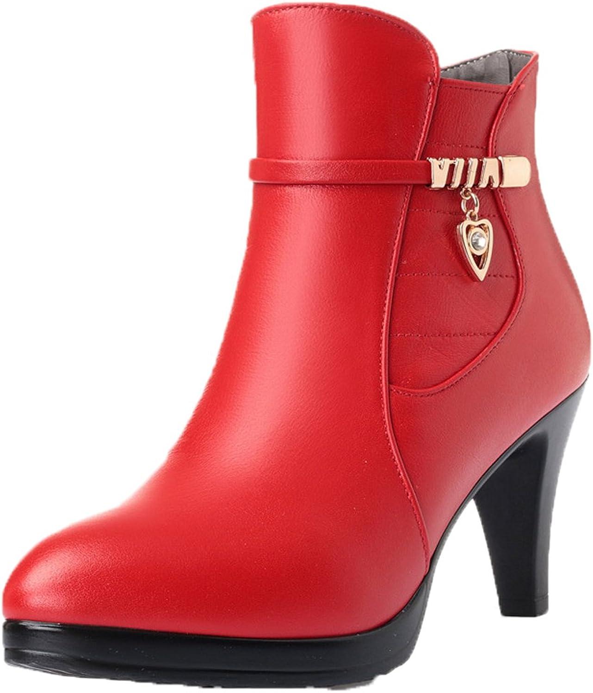 Honeystore Damen Stiefeletten High Heels Spitze Stiletto Ankle Ankle Ankle Stiefel mit Reißverschluss Schnalle 7cm Absatz Elegante Schuhe  46a1e1