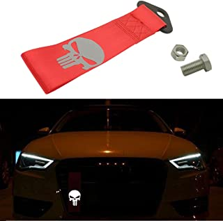Kaizen Reflective Universal Skull Racing Tow Strap JDM Towing Strap Punisher Bumper Towing Set for Front Or Rear Bumper Towing Hook (Red)