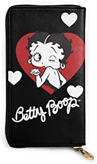 KJKT Be-Tty Bo-Op Womens Genuine Leather Long Wallet Travel Purse Credit Card Holder Phone Clutch - Large Capacity Zip Around