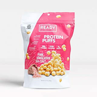 Ready Nutrition Protein Puffs, 10g Plant-based, Natural Protein, Gluten-Free, Vegan, Non-GMO – Pink Himalayan Sea Salt (3.5oz pouch, Pack of 12)