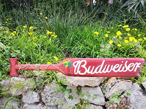 Mystika Budweiser Wood Paddle Beer Wall Plaque Tiki Bar Sign Pub Man Cave 39'