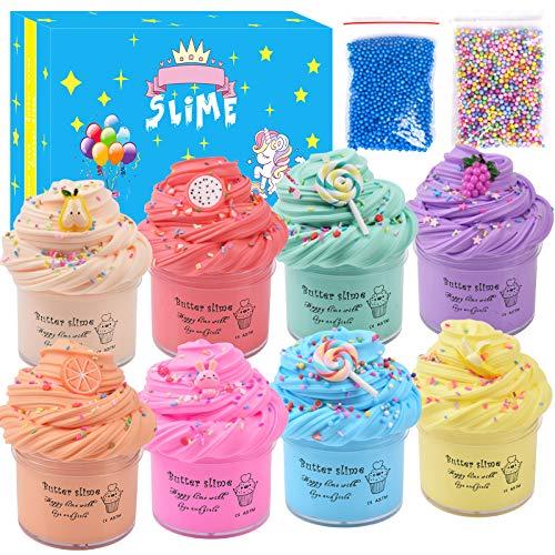 Uolor Schleim Slime Kinder Putty Spielzeug Geschenke,8 Packungen Sanft Butter Schleim Kit- Super Weich Und Nicht Klebrig,Stressabbau Spielzeug Zum Kinder Jugendliche Erwachsene