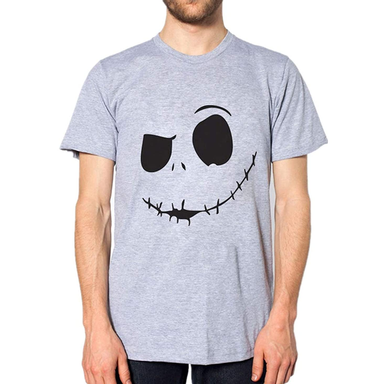 Men's Summer Tops Duseedik New Evil Smile Face Printed Round Collar Comfortable T-Shirt Top Blouse