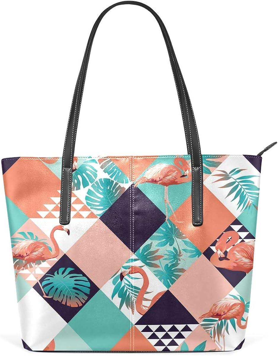 Flamingo Tropical Now on sale Leaves Leisure Fashion Leather Max 51% OFF for PU Handbag
