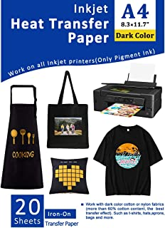 Iron-On Heat Transfer Paper for Dark Fabric 20 Sheets 8.5x11