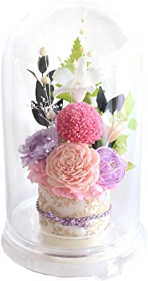 「千帆」 (ピンクと紫) プリザーブドフラワー 仏花 ドーム プリザ