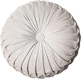 Ewer Round Pumpkin Throw Pillow European Velvet Sofa Pillow Pleated Round Floor Filled Cushion Home Decorative for Couch Chair Bed Car, 15inch, White