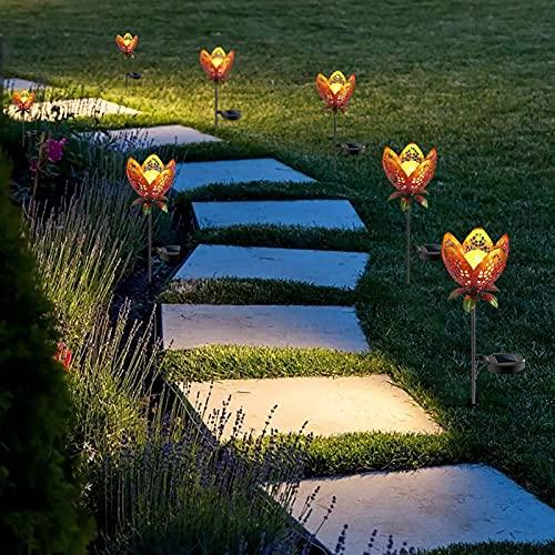 JENCRL Lámparas Solares para Exteriores, Luces Decorativas para Césped, Jardín, Luces De Paisaje, Proyección Hueca Solar, Lámpara De Césped para Paisaje, Lámpara De Pie Solar/Luces De Flores