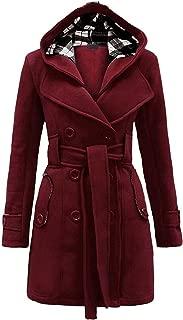 Women's Military Belted Fleece Button Coat Check Hood Jacket