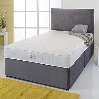 Sommier Naples de luxe avec tête de lit et matelas à ressorts hélicoïdaux à mémoire de forme (lit simple de 90 cm – 2 tiro...