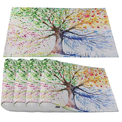 Moslion Four Season Tree Placemats,Watercolor Tree of Life with Multicolor Blue Green Yellow Purple Place Mats for Dining Table/Kitchen Table,Waterproof Washable Outdoor Dinner Table Mats,Set of 4