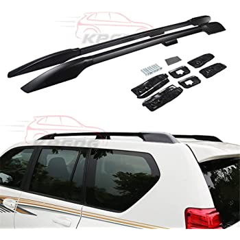 Amazon Com Fit For Toyota Land Cruiser Prado Fj150 2010 2016 2 Pcs Aluminium Roof Rail Roof Rack Side Rail Bar Black Automotive
