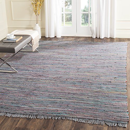 Safavieh Rag Rug Collection RAR121C Hand Woven Ink and Multi Cotton Area Rug (8' x 10')