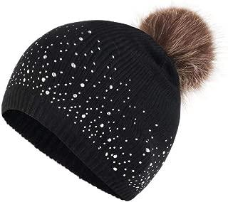 LENXH Women's Wool hat Autumn and Winter Hair Ball Cap Twist Knit hat Parent-Child hat Fashion hat