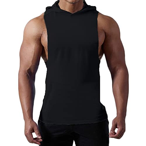 f978ea29eb69c Magiftbox Mens Workout Hooded Tank Tops Sleeveless Gym Hoodies with Kanga  Pocket Cool and Muscle Cut