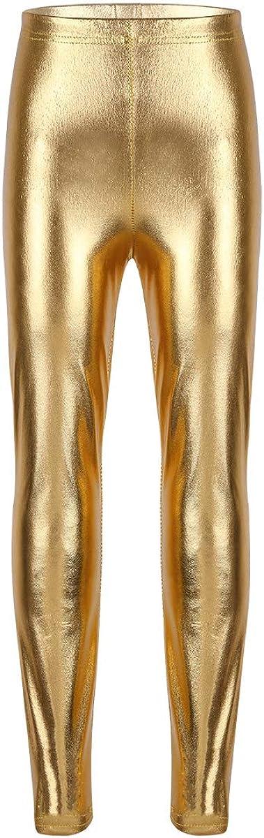 Hansber Kids Girls High Waist Dance Sports Leggings Metallic Gymnastic Yoga Tights Hip Hop Dance Pants Gold 8-10