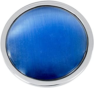 Quiges Women's Silver Stainless Steel Interchangeable 33mm Pendant Coin Blue Cat Eye for Necklace Locket
