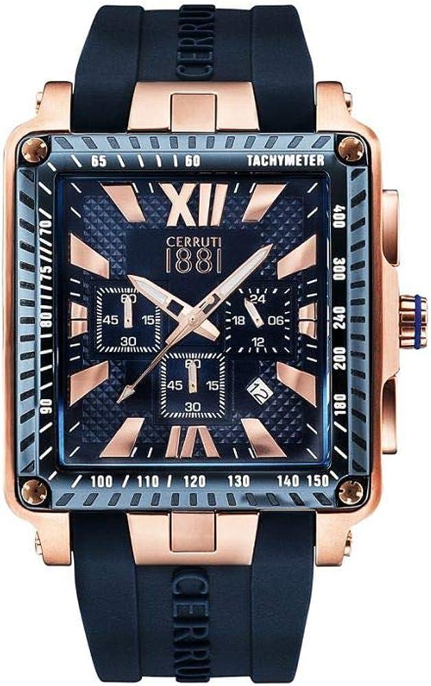 Cerruti 1881,orologio,cronografo per uomo,in acciaio e pvd oro rosa e cinturino in silicone CRA012SRBL03DBL