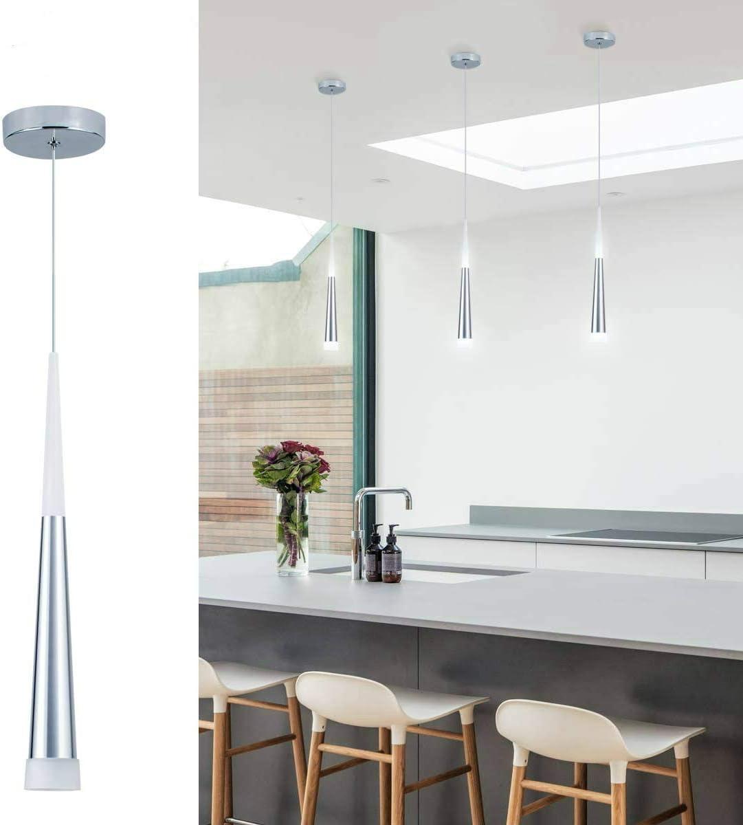 Bewamf Mini Pendant Light Silver Finish with Acrylic Shade LED Cone  Adjustable Modern Pendant Lighting for Kitchen Island Dining Room Bar,Warm  White ...
