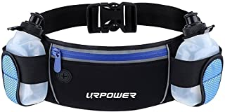 Running Belt Multifunctional Zipper Pockets Water Resistant Waist Bag, with 2 Water Bottles Waist Pack for Running Hiking Cycling Climbing and for 6.1 inches Smartphones