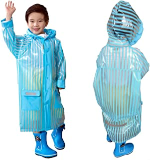 C.A.Z Age 5-12 Kids Rain Jacket Rain Poncho Raincoat Hooded with School Bag Cover and Safety Reflective Stripe