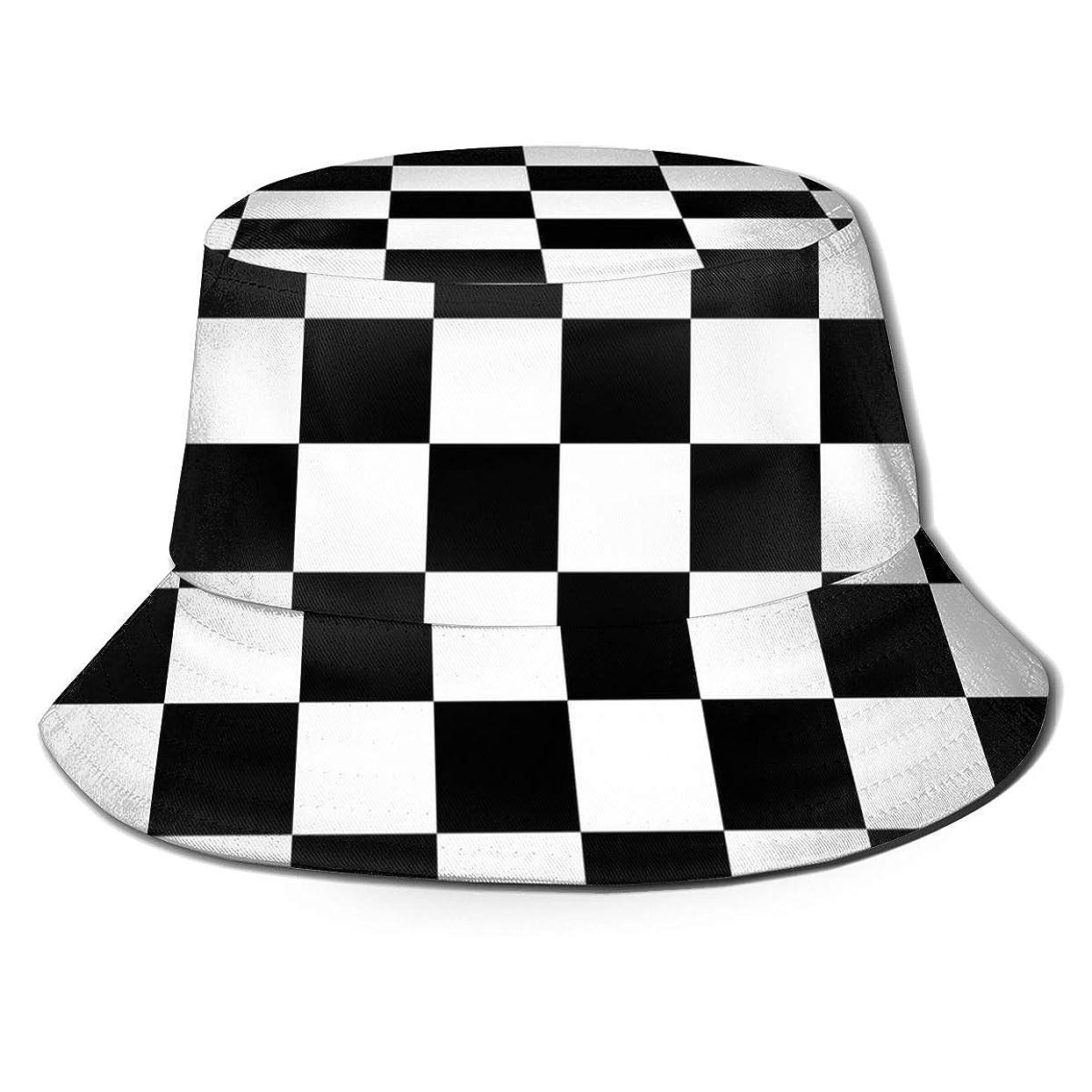 行う有効なアジア人Aiwnin 黒白 格子 漁師の帽子 サンハット 日よけ帽 紫外線保護 釣り 登山 農作業 通気性がいい