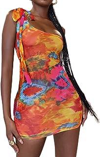 MEALIYA Sexy de un hombro vestido de fiesta corto sin mangas teñido anudado vestidos para mujer casual verano bodycon