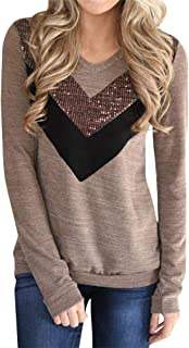 YeMgSiP Womens Casual Sequin Striped Tunic Tops Long Sleeve V Neck T Shirt Blouse