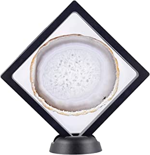 rockcloud 3D Floating Frame Agate Slice Display Holder with Stands for Challenge Coins, Medallions, Jewelry Specimen Show Case Natural Color
