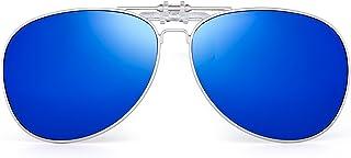 JIM HALO - Retro Clip en Aviador Gafas de Sol Polarizadas Flip up Lentes Conducir Anteojos Hombre