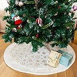 Henrey Tech N Faldas de árbol de Navidad 122cm Piel sintética Blanca con Lentejuelas Plateadas Copo de Nieve Cubierta de Base de Alfombra para Decoraciones de árboles de Navidad (Dorado, 90cm)