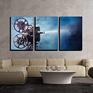 wall26 - 3 Piece Canvas Wall Art - Photo of an Old Movie Projector - Modern Home Decor Stretched and Framed Ready to Hang - 24