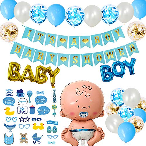 DANXIAN Babyparty Deko Set XXL Junge - Dekoration Baby Shower für Jungs - It's A Boy Baby Shower Girlande, Foto Requisiten, Baby Boy Aluminium Folienballoon und 20pcs Luftballons