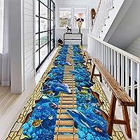 廊下敷きカーペット アンダーウォーターワールドドルフィンラグで3Dランナーラグ廊下玄関ノンスリップマット、 60cm / 80cm / 100cm / 120cmワイド (Size : 120x400cm)