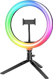 """Luz de Anillo LED con Trípode, BlitzWolf 10.2"""" RGB Anillo de Luz con Soporte de Móvil y Control Remoto Bluetooth, Aro de L..."""