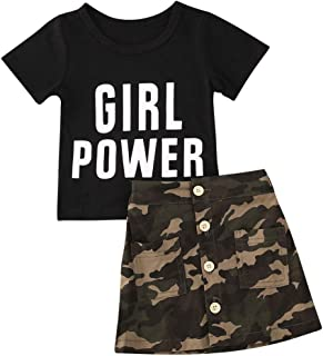 Toddler Baby Girls Camouflage Clothes Summer Outfits Black T-Shirt Tops + Button Skirt 2 Piece Sets