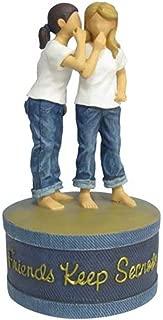 WL SS-WL-18458, 6 Inch 2 Girl Friends Share Secret Jeans on Blue Trinket Box, 6