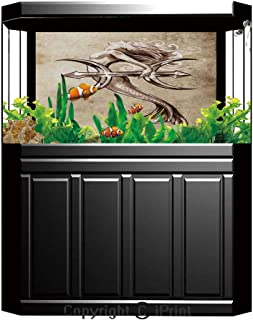 Aquarium Fish Tank Background,Mermaid,Retro Style Art Mermaid Brushing Hair and Border with Celtic Patterns Print,Brown White,Decor Paper Green Water Grass Aquatic Style Like Real,W24.02